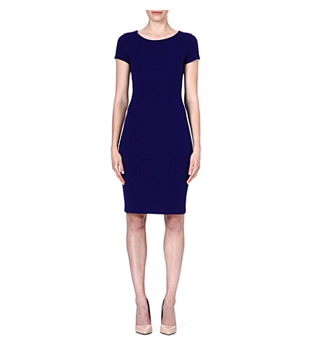 ARMANI COLLEZIONI Cap-sleeved wool-blend dress (Blue