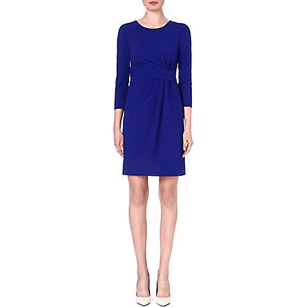 ARMANI COLLEZIONI Gathered-waist stretch-wool dress (Blue