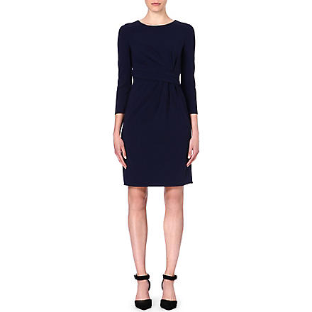 ARMANI COLLEZIONI Gathered wool-blend dress (Navy