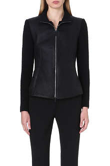 ARMANI COLLEZIONI Leather-panelled jacket