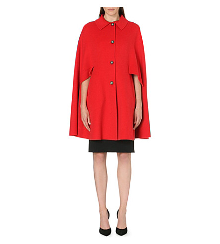 ARMANI COLLEZIONI Two-pocket wool-blend cape (Red