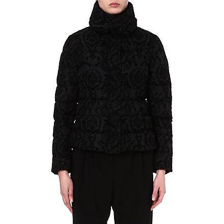 ARMANI COLLEZIONI Velvet floral-print jacket (Black