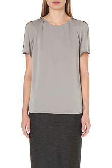 ARMANI COLLEZIONI Pleat-detail stretch-silk top