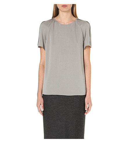 ARMANI COLLEZIONI Pleat-detail stretch-silk top (Lt/grey