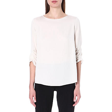 ARMANI COLLEZIONI Ruched stretch-silk top (Beige