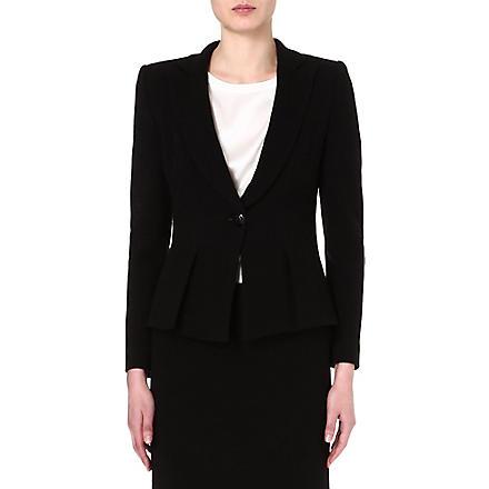 ARMANI COLLEZIONI Fitted black crepe jacket (Black