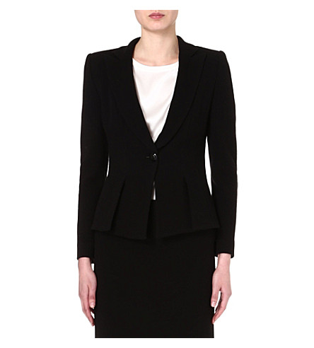 ARMANI COLLEZIONI Fitted black crepe jacket (Black