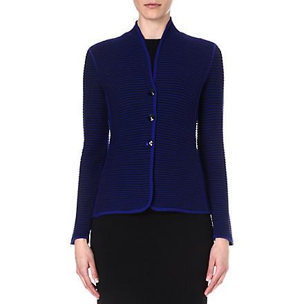 ARMANI COLLEZIONI Single-breasted ribbed jacket (Blue