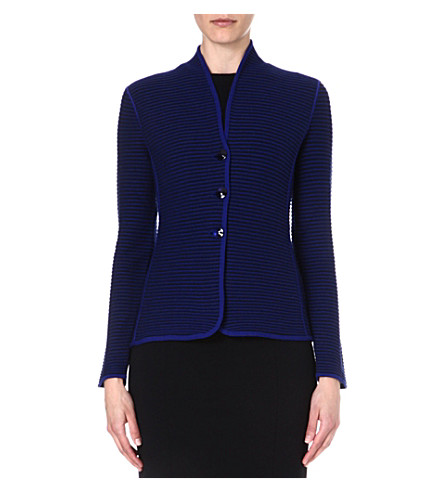 ARMANI COLLEZIONI Single-breasted ribbed jacket (Blue