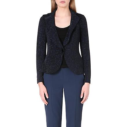 ARMANI COLLEZIONI Sparkle glittered jersey jacket (Blue