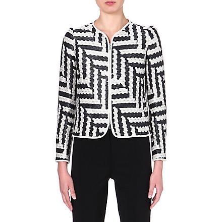 ARMANI COLLEZIONI Zig-zag jacquard jacket (White/black