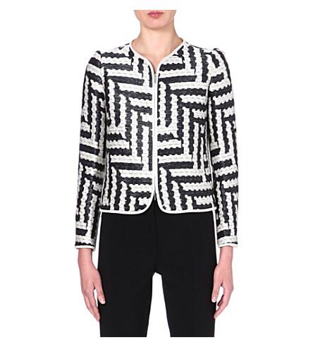 ARMANI COLLEZIONI Zigzag jacquard jacket (White/black
