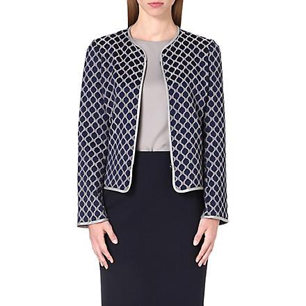 ARMANI COLLEZIONI Hexagon-print crepe blazer (Blue/grey
