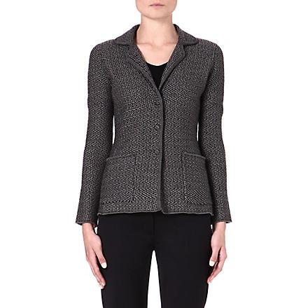 ARMANI COLLEZIONI Zig-zag wool jacket (Black/gret