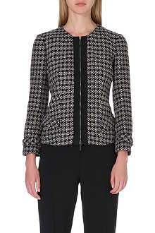 ARMANI COLLEZIONI Houndstooth zip-front jacket