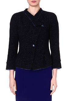 ARMANI COLLEZIONI Frayed-edge tweed jacket