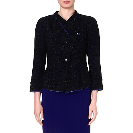 ARMANI COLLEZIONI Frayed-edge tweed jacket (Blue