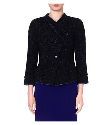 ARMANI COLLEZIONI Frayed-edge tweed jacket (Blue