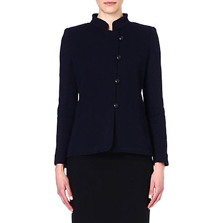 ARMANI COLLEZIONI Collared asymmetric jacket (Black/blue