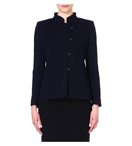 ARMANI COLLEZIONI Collared asymmetric jacket (Black/blue