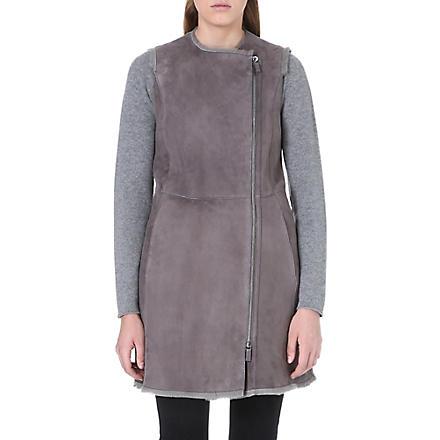 ARMANI COLLEZIONI Shearling gilet (Grey