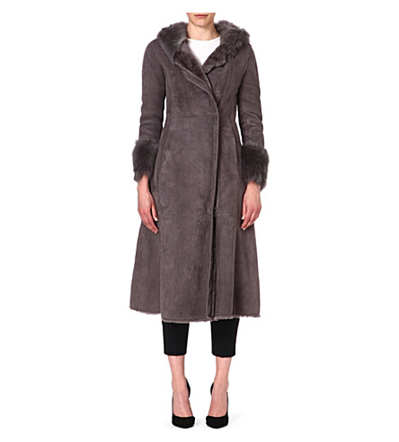 ARMANI COLLEZIONI Shearling hooded coat (Grey