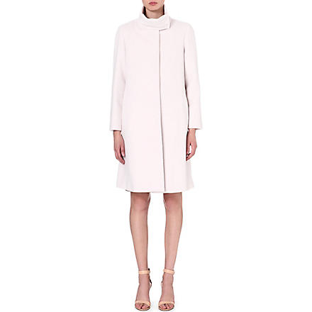 ARMANI COLLEZIONI Funnel neck wool-blend coat (Ivory