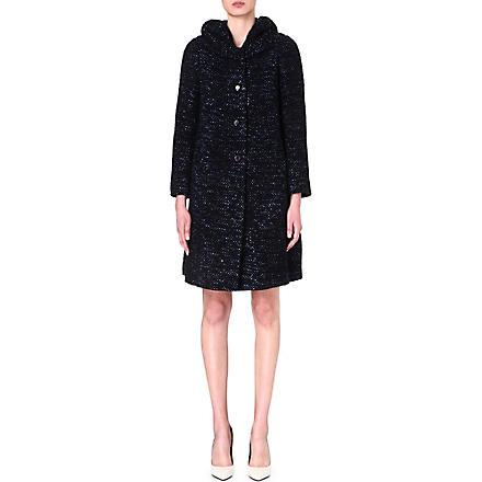 ARMANI COLLEZIONI Speckled wool-blend coat (Blue