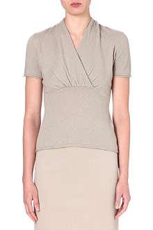 ARMANI COLLEZIONI Wrap-front cashmere top