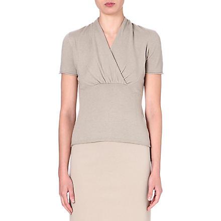 ARMANI COLLEZIONI Wrap-front cashmere top (Beige