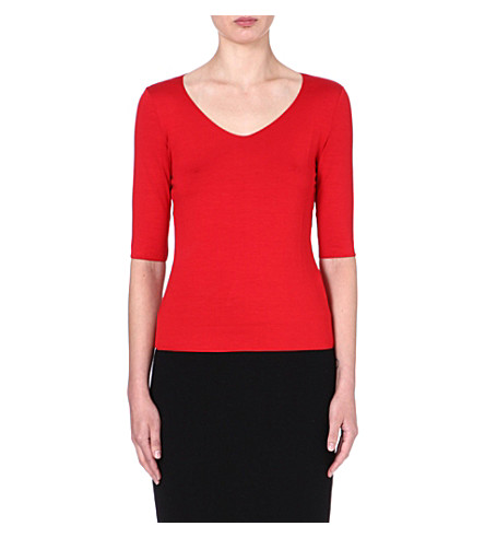 ARMANI COLLEZIONI Mid-sleeved jersey top (Red