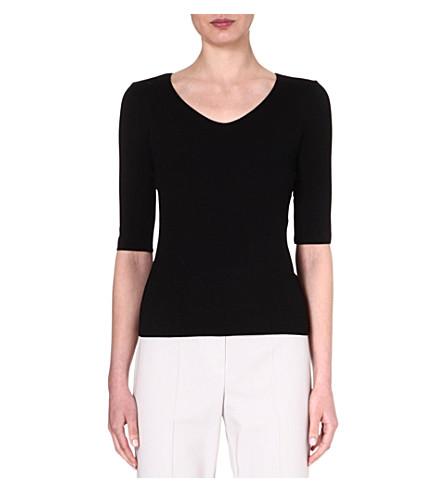 ARMANI COLLEZIONI Mid-sleeved jersey top (Black