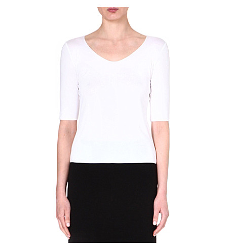 ARMANI COLLEZIONI Mid-sleeved jersey top (White