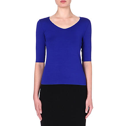 ARMANI COLLEZIONI Mid-sleeved jersey top (Blue