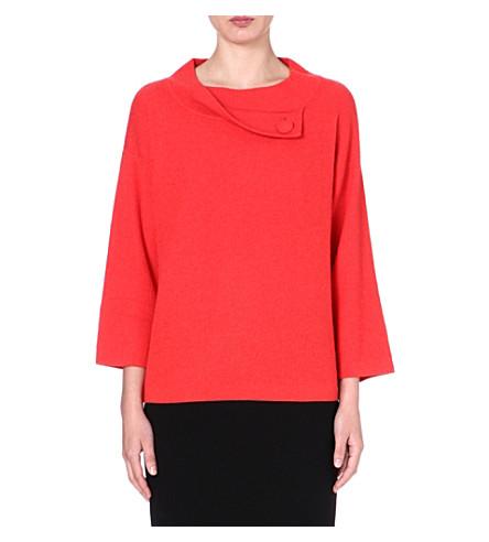 ARMANI COLLEZIONI Button-neckline cashmere jumper (Coral