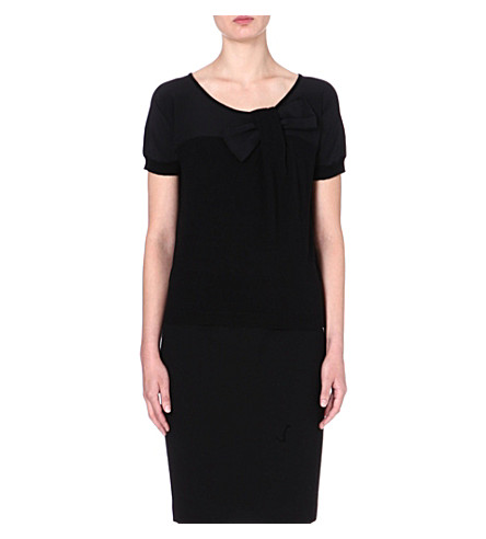 ARMANI COLLEZIONI Bow-detail knitted top (Black