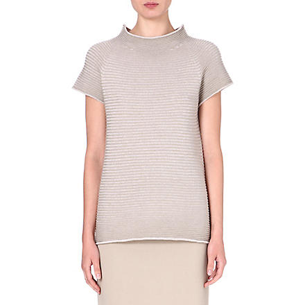 ARMANI COLLEZIONI Ribbed knitted top (Beige