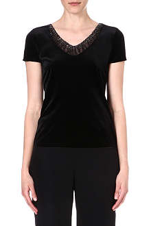ARMANI COLLEZIONI Velvet short-sleeved top