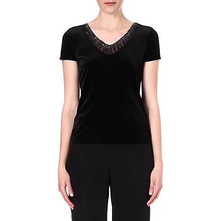 ARMANI COLLEZIONI Velvet short-sleeved top (Black