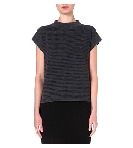 ARMANI COLLEZIONI Ribbed knitted top (Charcoal