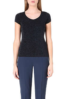ARMANI COLLEZIONI Sparkle glittered stretch-jersey top