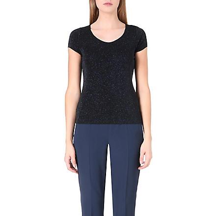 ARMANI COLLEZIONI Sparkle glittered stretch-jersey top (Blue