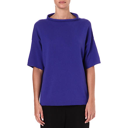 ARMANI COLLEZIONI Cashmere short-sleeved top (Blue