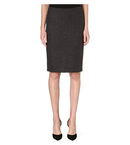 ARMANI COLLEZIONI Classic tweed pencil skirt (Black/grey