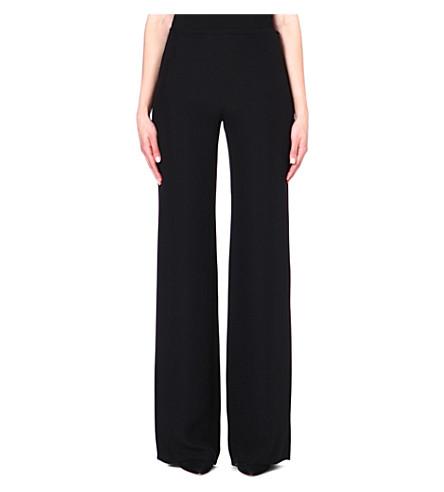ARMANI COLLEZIONI Wide-leg crepe trousers (Black