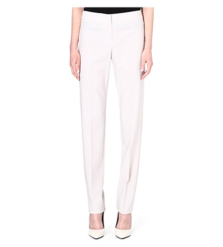 ARMANI COLLEZIONI Narrow-leg wool trousers (Beige