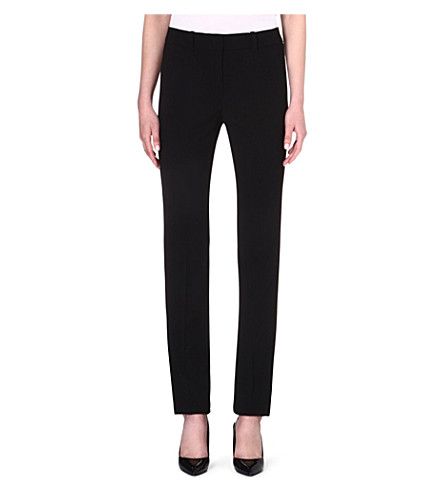 ARMANI COLLEZIONI Straight-leg stretch-wool trousers (Black