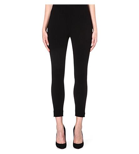 ARMANI COLLEZIONI Cropped stretch-jersey leggings (Black