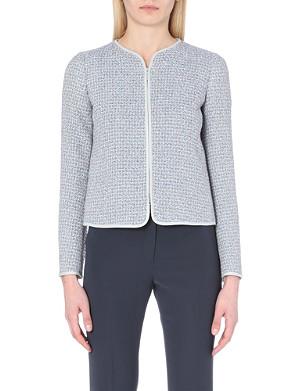 ARMANI COLLEZIONI Boucle tweed zip jacket
