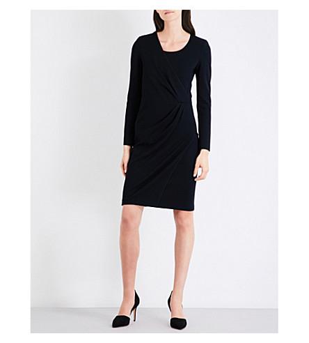 ARMANI COLLEZIONI Wrap-detail stretch-woven dress (Black